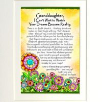 "Granddaughter, I Can't Wait to Watch Your Dreams Become Reality. – (Kukana) 8 x 10 Matted ""Gifty"" Art Print"