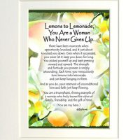 "Lemons to Lemonade, You Are a Woman Who Never Gives Up. – (Kukana) 8 x 10 Matted ""Gifty"" Art Print"