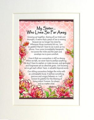 Sister, so far away - Matted Art Print