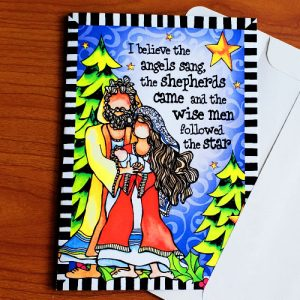 Angels sang and shepherds came - chritmas greeting card - outside