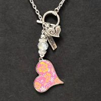 Pink Heart – Clay Bead Pressed Necklace – (LIMITED AVAILABILITY)