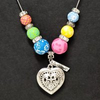 Multi-Colored – Clay Bead Necklace with Heart Pendant – (LIMITED AVAILABILITY)