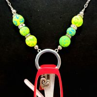 """Green Beaded """"Holder"""" Necklace for readers or ID – (Limited Quantities)"""