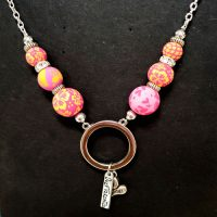 """Pink Beaded """"Holder"""" Necklace for readers or ID – (Limited Quantities)"""