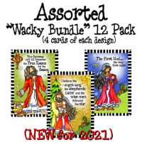 """Assorted (12 Pack) – Christmas """"Wacky Bundle"""" Greeting Cards"""