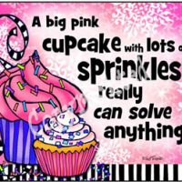 A big pink cupcake with lots of sprinkles really can solve anything! – Mouse Pad