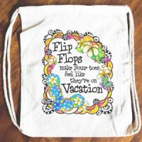 Flip Flops make your toes feel like they're on Vacation – 15″ x 13″ Drawstring Backpack/Tote Bag