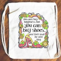 You can't buy happiness but you can buy shoes… and that's kinda the same thing – 15″ x 13″ Drawstring Backpack/Tote Bag