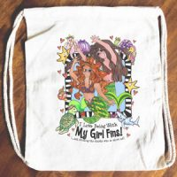 I Love Being with My Girl 'Fins! (Divas of the Deep) – Mermaid – 15″ x 13″ Drawstring Backpack/Tote Bag