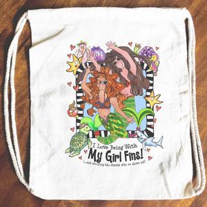 Girl Fins - Drawstring Backpack - Tote bag