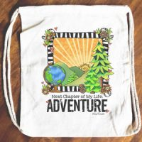 Next Chapter of My Life: ADVENTURE – 15″ x 13″ Drawstring Backpack/Tote Bag