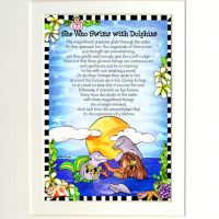 """She who Swims with Dolphins (Divas of the Deep) – 8 x 10 Matted """"Gifty"""" Art Print"""