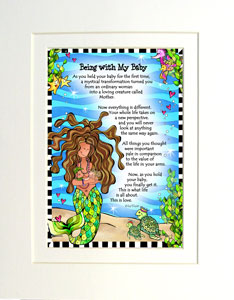 Being with My Baby - matted Gifty Art Print