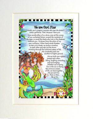 We are Girl 'Fins - matted Gifty Art Print
