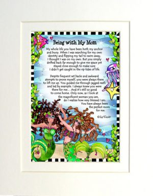 Being with My mom - matted Gifty Art Print