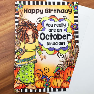 October _Birthday Card - OUTSIDE