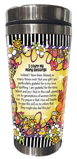 Count blessings QUILT - Stainless Steel tumbler - BACK