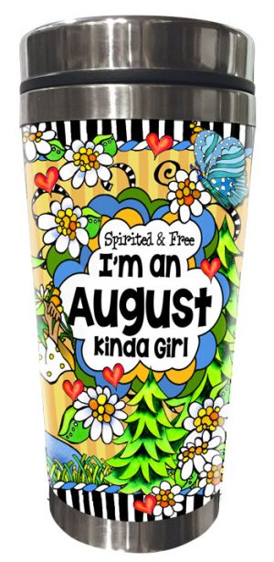 AUGUST - FRONT - Stainless Steel Tumbler