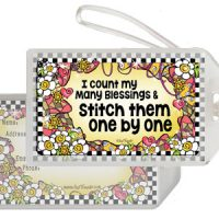 I count my many blessings & stitch them one by one – Bag Tag