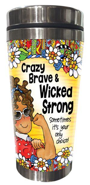 Crazy Brave (yellow) Tumbler - FRONT