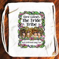 Bride Tribe (3-6 Girl options) – 15″ x 13″ Drawstring Backpack/Tote Bag