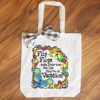 Flip Flops make your toes feel like they're on Vacation – 15″ x 11″ Tote Bag