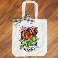 I Love Being with My Girl 'Fins! (Divas of the Deep) – 15″ x 14″ Tote Bag -Mermaid