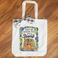 Don't Let Anyone Dull Your Sparkle (TingleHeart) – 15″ x 11″ Tote Bag