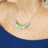 Blue & Green – Clay Beaded Necklace – (LIMITED AVAILABILITY)