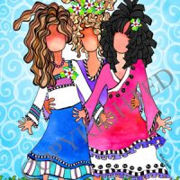 """I'm So Thankful You're My Daughters (Vintage) – 8 x 10 Matted """"Gifty"""" Art Print"""